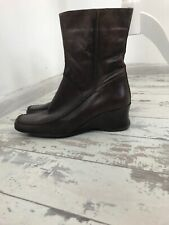 Next Brown Dark Tan Leather Ankle Boots Small Wedge 5 38