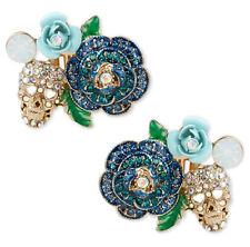 Betsey Johnson SKULLS & ROSES Gold-Tone Blue Glitter Clip-On Earrings $55 NEW