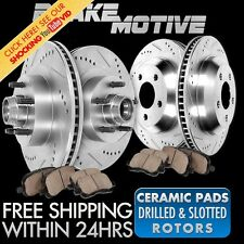 FRONT REAR DRILLED SLOTTED BRAKE ROTORS AND CERAMIC PADS 2WD Excursion F250 F350
