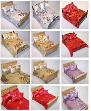1/12 Handmade Dolls house Bedding Set - Double Bed size -Chinese Style Satin