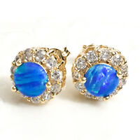 2 Ct Round Blue Fire Australian Opal Stud Earrings 14K Yellow Gold Jewelry E36