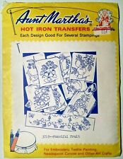 Aunt Martha's Fanciful Fruit #3749 Embroidery Needlepoint Iron on Transfers