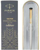 Parker Vector Steel GT Gold Trim Ball Pen BP Blue Ink 0.8mm Fine Nib Jotter New