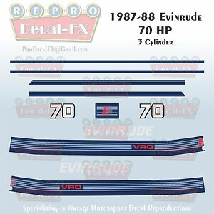 1987-88 Evinrude 70 HP 3 Cyl Outboard Reproduction 11 Piece Marine Vinyl Decals