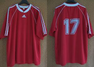 Maillot Adidas Rouge Blanc vintage 90'S Porté #17 Jersey Football Shirt - XL