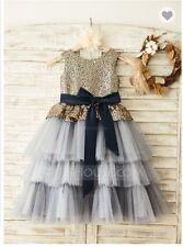 Flower Girl/ Party Dresses : gold sequin/ tulle skirt/ - $144 orig/ size 4yr