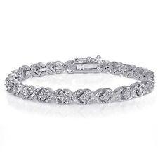 Sterling Silver Finish Natural Miracle Set X Tennis Bracelet Lab Diamond Brass
