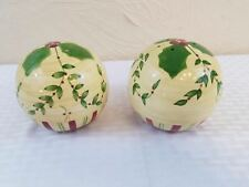 Christmas Holiday Ball Salt & Pepper Shakers Pale Yellow with Holly Plaid