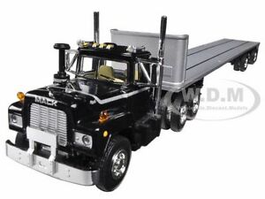 MACK R TRUCK WITH TWO 48FT FLATBED TRAILERS STACKED 1/64 BY FIRST GEAR 60-0291