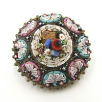 Antique Micro Mosaics Signed CD Brooch Pin Made in Italy Flower Garden on Metal
