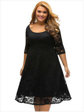 New Women Half Sleeve Cocktail Bridesmaids Party Gown Full Lace Dress Plus Size