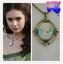 The Vampire Diaries Katherine's Blue Cameo Vintage bronze cord Necklace