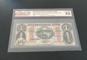 1858 Internatiional Bank Of Canada One Dollar Banknote. Higher Grade Certified