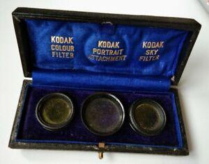 Very Rare Vintage Kodak Filters in silk velvet box instructions COMPLETE c1920