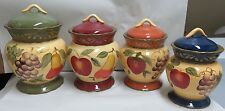 ACK Tuscany Garden Hand Painted Ceramic 4 Pc.Canister Set, Spoon Rest, S&P