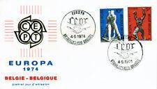Belgien 1766-67 FDC, CEPT 1974-Skulpturen