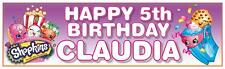 """2 PERSONALISED SHOPKINS BIRTHDAY BANNER 3 ft - 36 """"x 11"""" - ANY NAME, ANY AGE"""