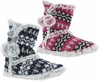 Dunlop Bootie Knitted Fur Lined Womens Abelle Pull On Winter Slippers UK 3-8