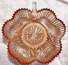 SALE! Four-Leaf Clover PINK Ribbed Carnival Depression Glass Candy Dish Vintage