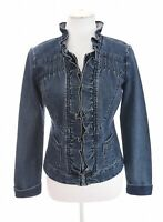 Christiana Zinn Sz S Ruffle Collar Full Zip Up Denim Jacket Womens Blue Neck