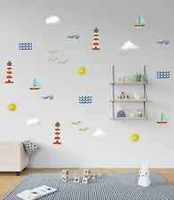 Lighthouse Nursery Wall Décor Removable Sticker Set Beach Themed Kids Room Wall