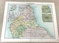 1891 Antik Map Of Northern England Durham York Northumberland Alte 19th Century