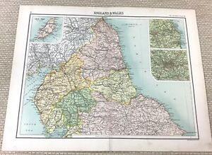 1891 Antique Map of Northern England Durham York Northumberland Old 19th Century