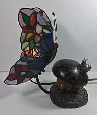 Butterfly Stained Glass Lamp 10in Table Light Metal Tiffany Style Mushroom Snail