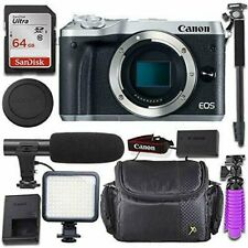 Canon EOS M6 Mirrorless Body Only Camera + Deluxe Video-Accessory Bundle