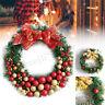 30cm Christmas Wreath Door Wall Ornament Garland Decoration Bowknot Bell Gift