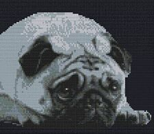 "Pug  Grey Dog Complete Counted Cross Stitch Kit 8"" x 7"" (20 x 18)cm 14 Count"