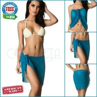 Coqueta Pareo Women's Swimsuit Cover Up Sarong PEACOCK Chiffon Bikini SWIMWEAR
