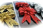2 Glitter Christmas Tree Decorations Poinsettias Bow Gold Silver Red Xmas Flower