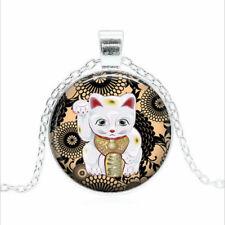 Maneki Neko necklace Tibet silver Glass dome Necklace chain Pendant Wholesale