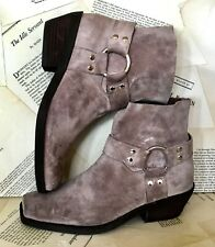 Jeffrey Campbell for Free People Boot taupe Distress Suede Harness Ankle 9 NEW
