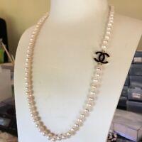 Elegant freshwater Round pearl7~7.5mm necklace NaturalWhite Good Luster 54cm #44