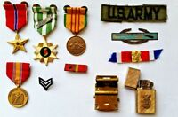 COLLECTION OF US SERVICEMANS  MEDALS, RIBBONS, BADGES, LIGHTER, BELT BUCKLE