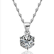 .925 Sterling Silver Clear Austrian Rhinestone Crystal Necklace Pendants Prom