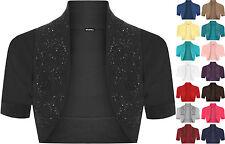 Ladies Ruched Shrug Womens Beaded Design Short Sleeve Bolero Cardigan Top 8-14
