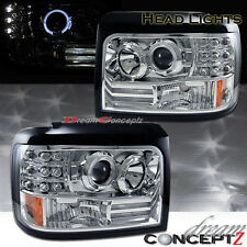 1992-1996 Ford Bronco F150 Halo projector headlights w. LED (chrome housing)