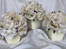 Set of 3 White Roses Bouquet in Wooden Box Centerpieces Silk Floral Arrangement