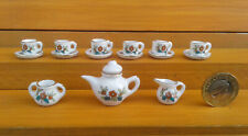 MINIATURE (DOLLS HOUSE) 15 PIECE TEA SET - FLORAL PATTERN.