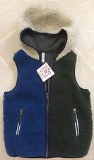New Hanna Andersson Reversible Navy & Green Sherpa Hooded Vest sz 120 (6-8yr)