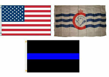 3x5 USA & Cincinnati Ohio & Police Blue Line Flag Wholesale Set 3'x5'