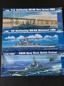 1/700 scale Trumpeter Kirov, USS new Jersey and USS Missouri lot ( 3 kits)
