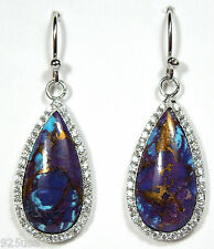 Natural Kingman Purple Turquoise and White Topaz 925 Sterling Silver Earrings