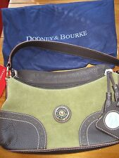 DOONEY & BOURKE GREEN SUEDE LEATHER SLOUCH TASSEL HOBO W/ BONUS DUST BAG. NEW!