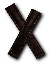 Brown crocodile-style strap 20/18mm with white stitching for Tag Heuer Carrera