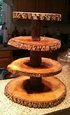 Rustic Wedding 4 Tier Natural Log Cupcake & Cake Topper Stand