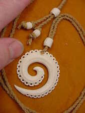 aceh bovine bone Pendant jewelry Necklace 1Bp-19 Circle of Life White carved